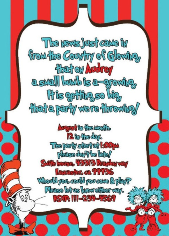 features of dr  seuss baby shower invitations