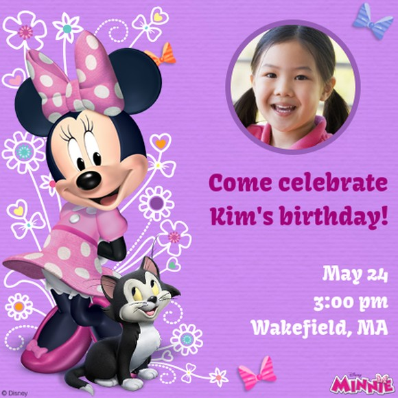 Cute Purple Minnie Mouse Birthday Invitation | Invitations Online