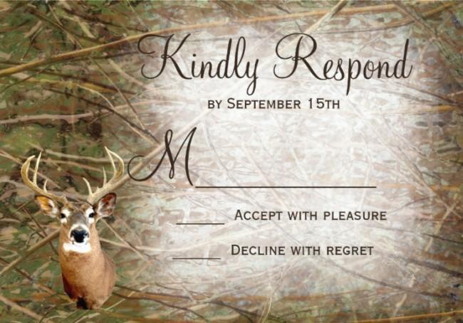 Deer Camo Wedding Invitation Sample