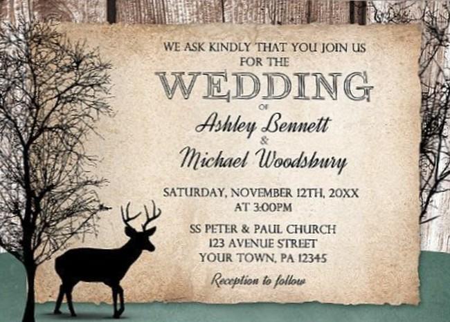 Deer Wedding Invitation Sample