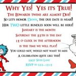 Dr. Seuss Baby Shower Invitation Example for Twins 150x150