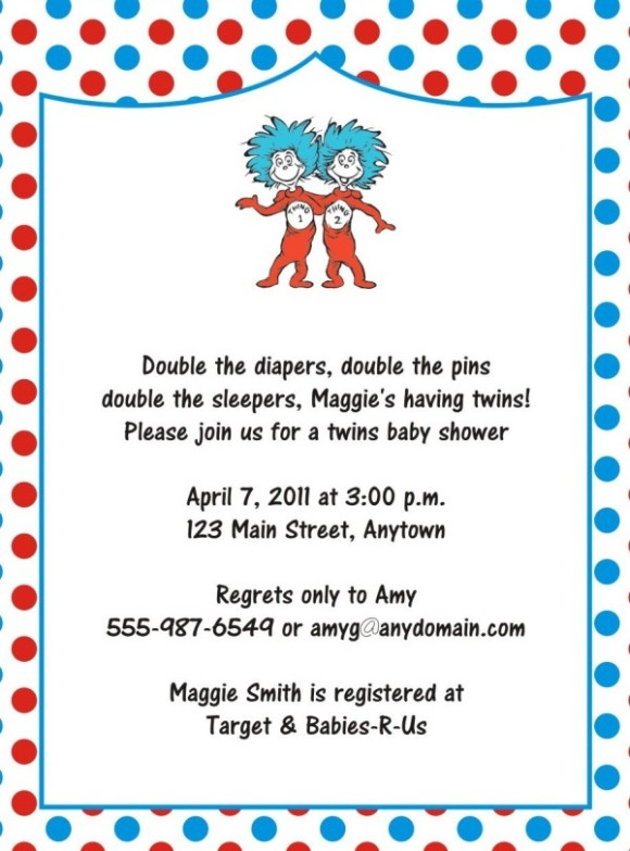 Dr. Seuss Baby Shower Invitation Template  Baby Shower Invite Samples