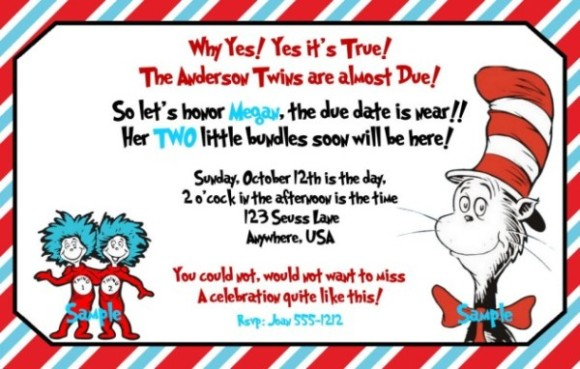 Dr. Seuss Sample For Baby Shower Invitation