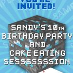 Example of Minecraft Birthday Party Invitation 150x150
