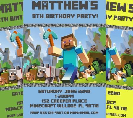 Minecraft Birthday Invite