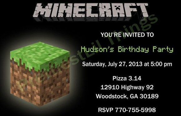 Minecraft Birthday Party Invitation Sample