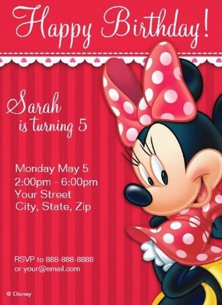 Minnie Mouse Birthday Invitation Sample