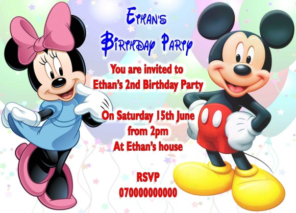 Minnie Mouse and Mickey Mouse Birthday Party Invitation – Minnie and Mickey Birthday Invitations