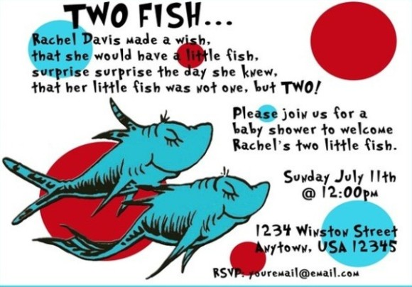 Two Fish Twins Dr. Seuss Baby Shower Invitation