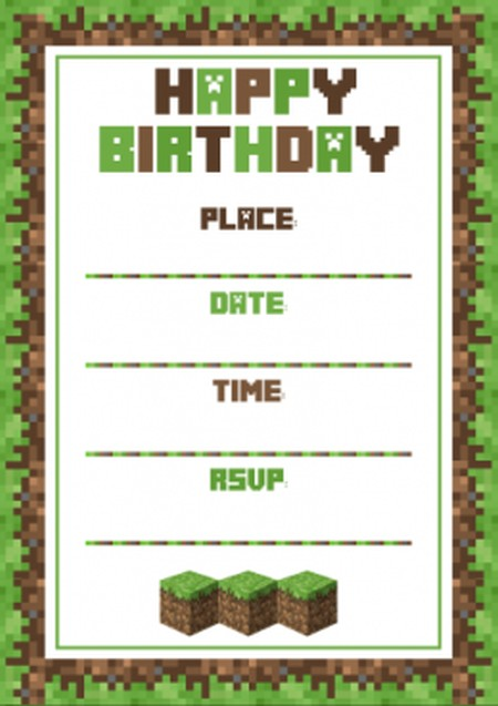 Free Printable Minecraft Birthday Invitations Gallery Image