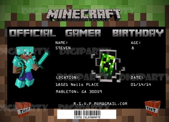 Birthday Card Template  Minecraft Birthday Card Template  Free