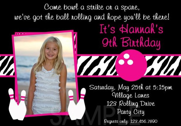 Bowling Birthday Invitation Sample with Photo