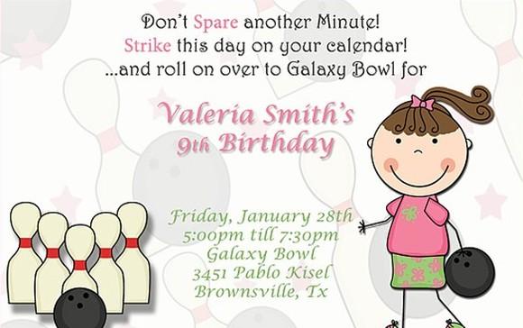 Bowling Birthday Invitation for Girls
