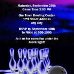 Bowling Cosmic Glow Party Invitation Sample 150x150