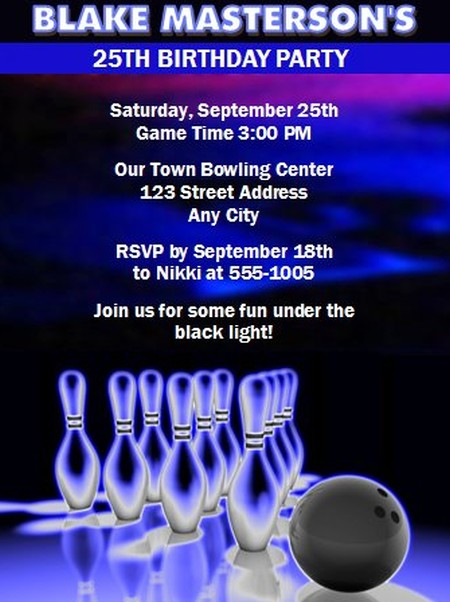 Bowling Cosmic Glow Party Invitation Sample