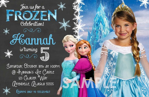 Frozen Birthday Invitation Sample with custom image | Invitations Online
