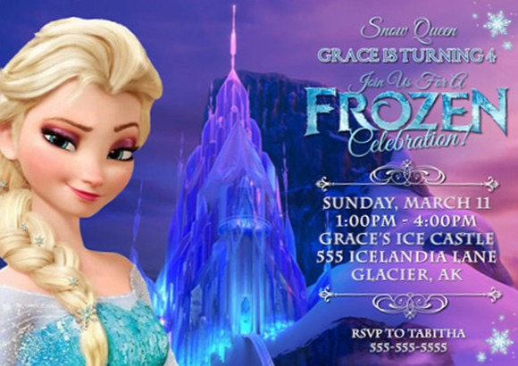 using frozen theme for girl u2019s party invitations