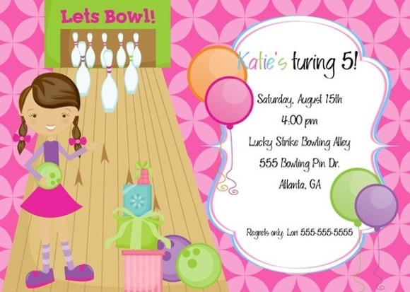 Girls bowling birthday party invitation invitations online girls bowling birthday party invitation filmwisefo