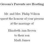 Grooms parents hosting wedding invitation wording 150x150