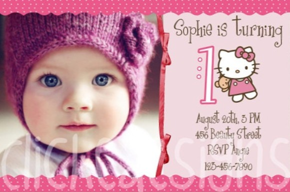Enjoy the quality designed Hello Kitty birthday invitations