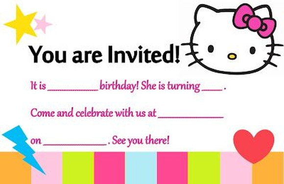 Birthday Party Template Hello Kitty Invitations Online - Free hello kitty birthday invitation templates
