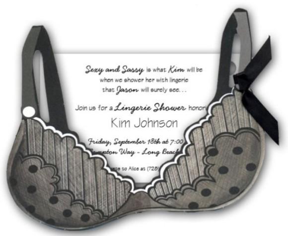 Black Polka Dots Bra Lingerie invitation