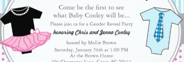 Boy or girl gender reveal invitation 590x200