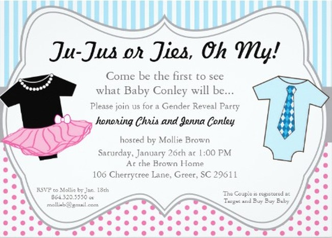 Boy or girl gender reveal invitation