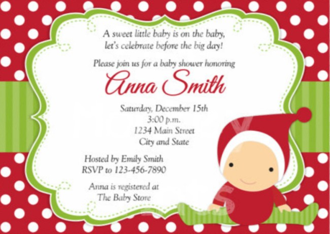 Etsy Christmas baby shower invitation