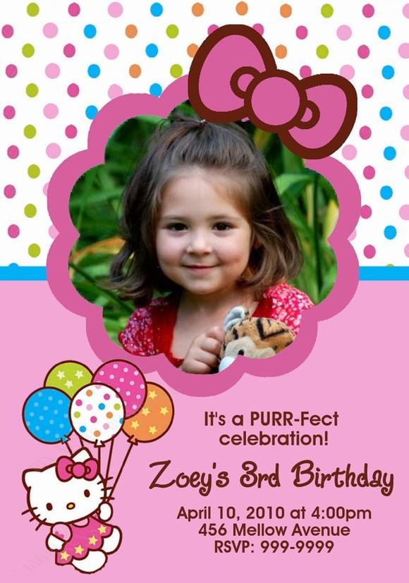 Hello Kitty Birthday Invitation with custom photo