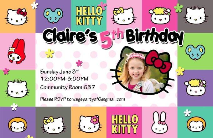 Hello Kitty and friends Birthday Party Invitation