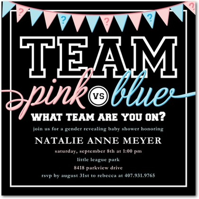 Team Pink vs Team Blue Gender reveal Invitation ...