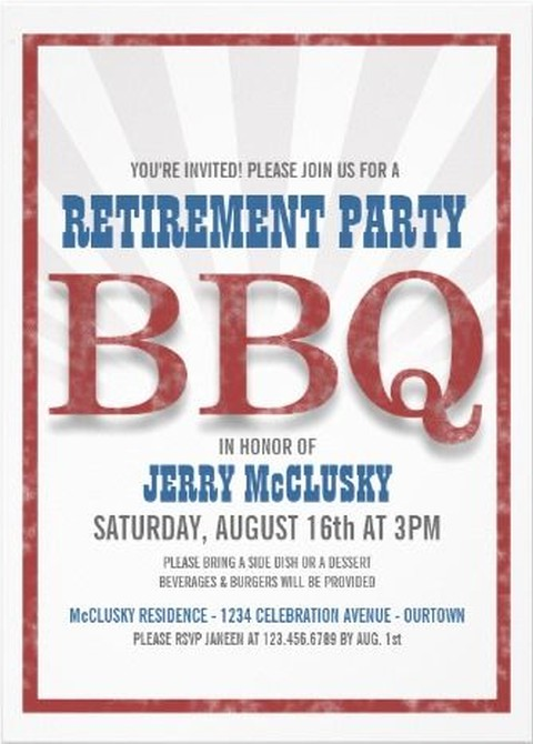retirement BBQ party invitation example – Retirement Party Invitations Online