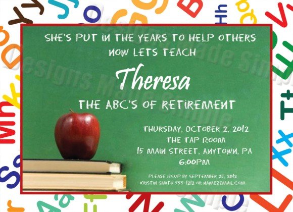 Teacher retirement party invitation invitations online for Retirement invitation template free
