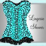 teal leopard corset lingerie shower invitation 150x150