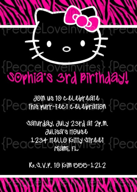 Black Hello Kitty invitation sample