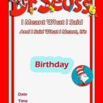 Dr Seuss Birthday Invitation free template 2 150x150