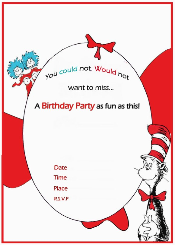 Dr Seuss Birthday Invitation Free Template  Free Birthday Template Invitations