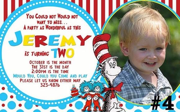 Dr Seuss Personalized Birthday Invitation