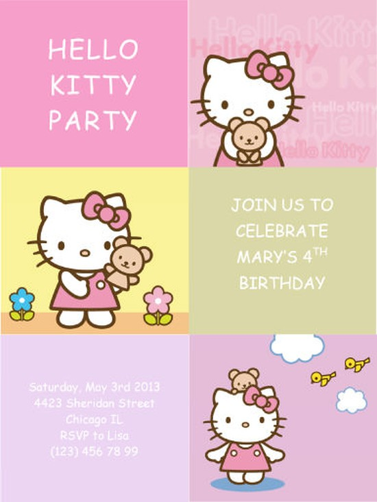 Hello Kitty Invitation Card Sample Invitations Online - Free hello kitty birthday invitation templates