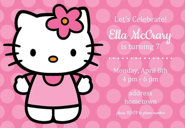 Hello Kitty invitation sample