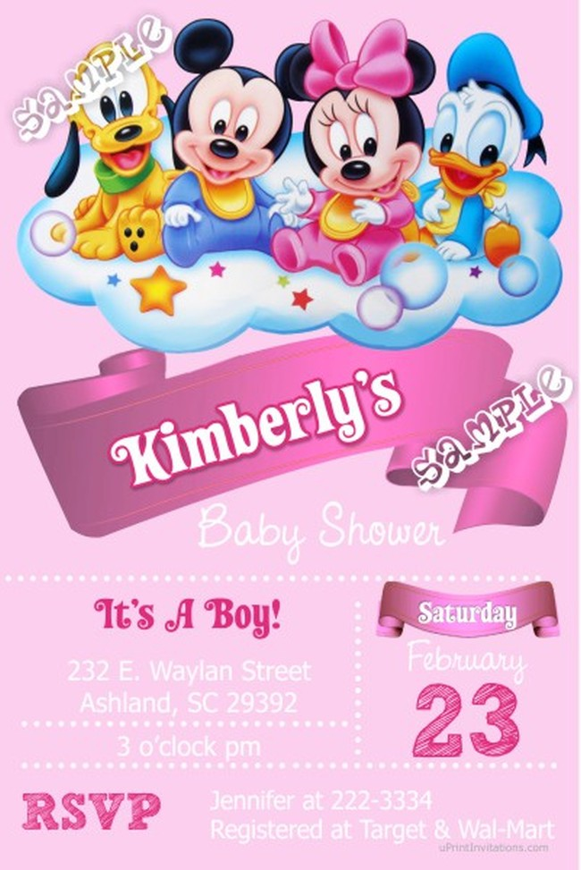 Minnie Mouse baby shower invitation sample Invitations Online