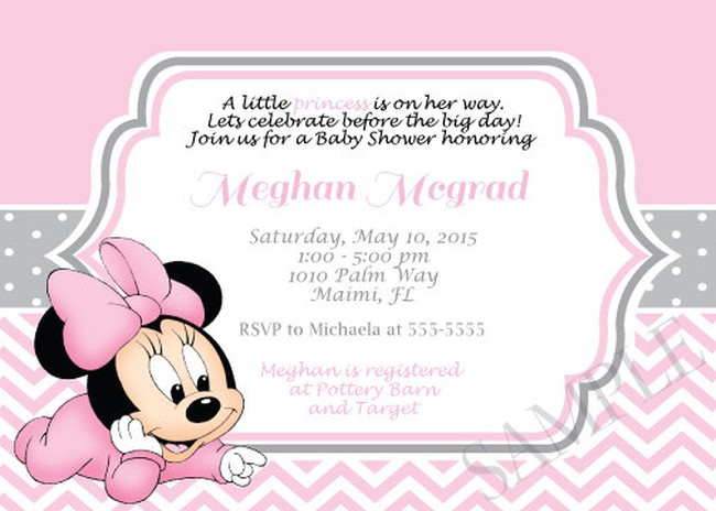 baby minnie mouse baby shower invitations