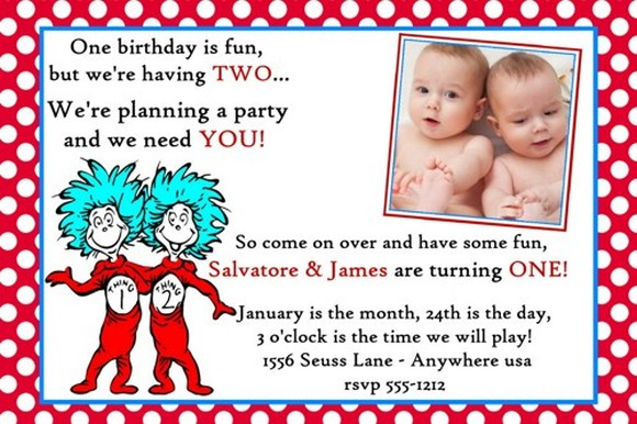 Dr seuss twins birthday invitation sample invitations online for Dr seuss birthday card template