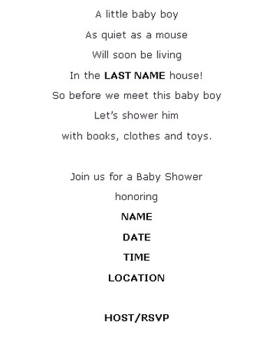 shower invitation wording sample