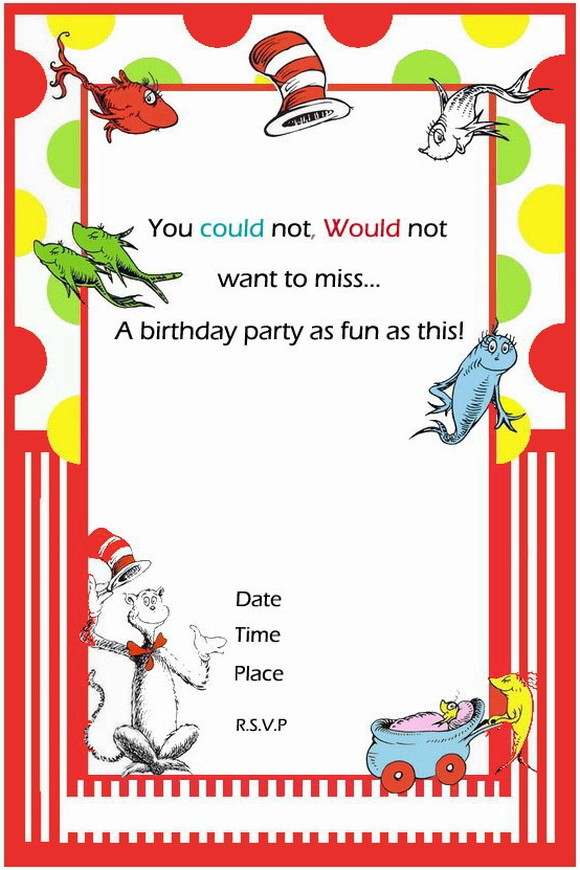 template - dr seuss birthday invitation | Invitations Online