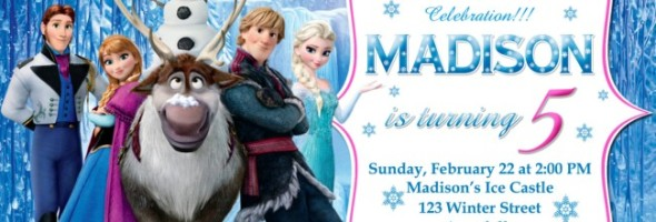 Frozen Birthday Party Invitation Example 590x200
