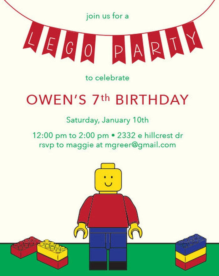 Lego Birthday Invitation Example 5 Invitations Online