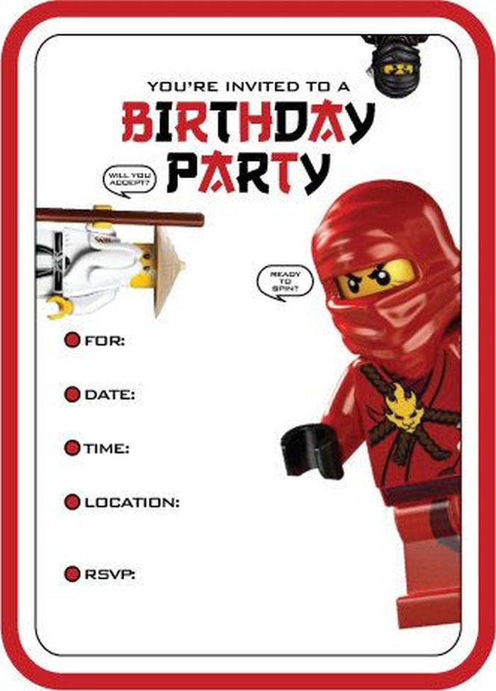 Lego Movie Birthday Party Invitations Personalised