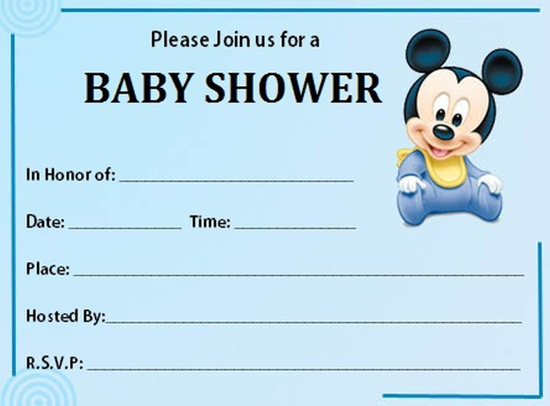 Mickey Mouse Baby Shower Invitation Free Template | Invitations Online